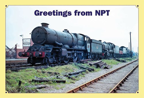 The greetings card that started it all by fortuitously bringing the HSBT team together (see main text). It depicts Western Region 4-6-0s Nos. 6019 King Henry V, 5021 Whittington Castle and 5064 Bishop's Castle in Newport Town Dock East sidings on April 15, 1963, awaiting entry into Cashmore's yard. MICHAEL HALE / NPT PUBLISHING