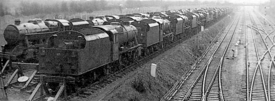 This undated photograph of Shrewsbury Sutton Bridge is (somewhat astonishingly) the only known published picture of a Locomotive Disposal Concentration Point. ALLAN SOMMERFIELD