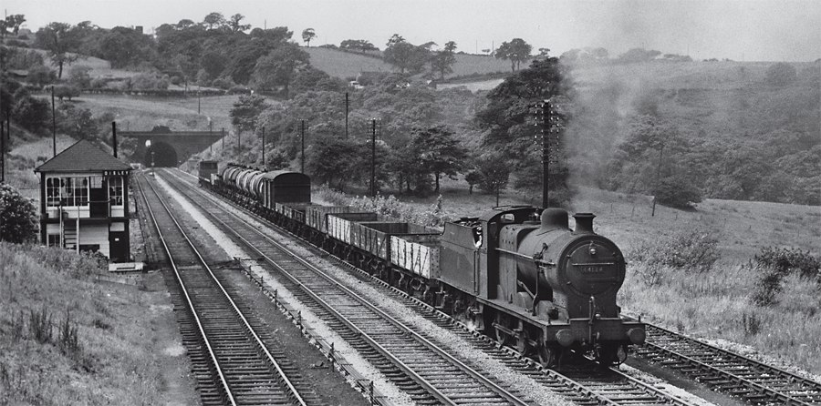 Another loco whose funeral notice has been wrongly recorded is ex-LMS 4F No. 44134, seen at Disley South Jct, Cheshire, in 1959. It was cremated at Cashmore's of Great Bridge, not Bird's of Long Marston. RAIL ARCHIVE STEPHENSON