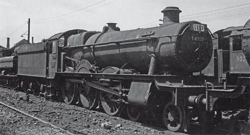 Former GW 4-6-0 No. 4907 Broughton Hall, here slumbering on Bristol St Philip's Marsh shed on July 3, 1962, was not cut up at King's of Norwich, as some records show, but in Tipton, at Cashmore's of Great Bridge. D.K. JONES