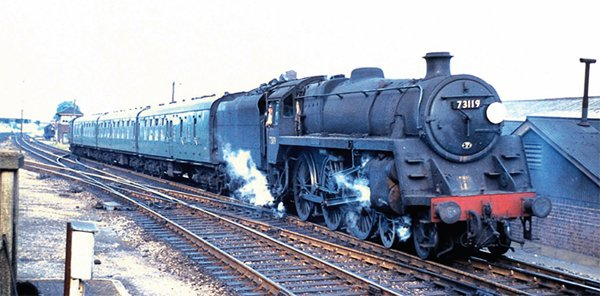 BR Class 5MT No. 73119 Elaine in happier times at Basingstoke. Its demise came at the Cashmore yard in Newport, not at the Buttigieg one. STRATHWOOD
